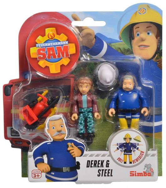 Feuerwehrmann Sam 2er Figuren-Set III Derek und Steel