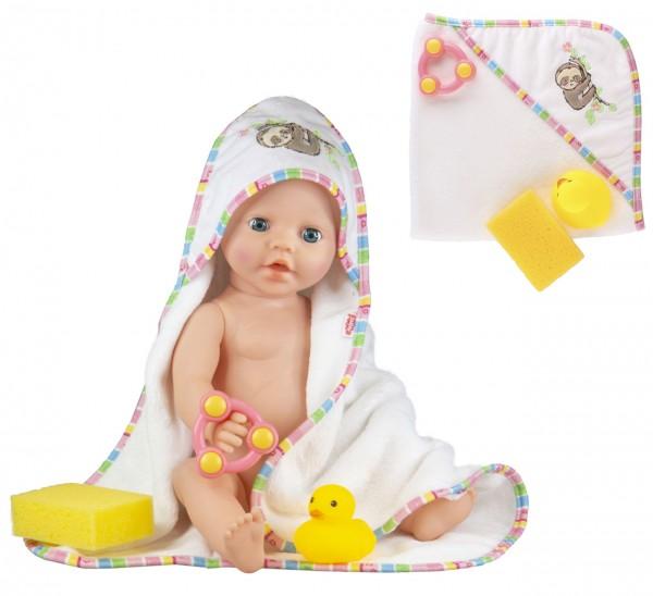 Kapuzenbadehandtuch Faultier Flauschi mit Zubehör für Puppen