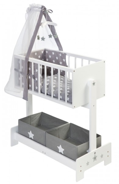 Große Puppenwiege mit Nestchen, Bettzeug, Mobile und Stoffboxen (Weiß-Grau)