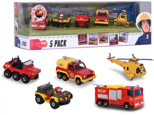Feuerwehrmann Sam Fahrzeugset aus Metall 5er Pack