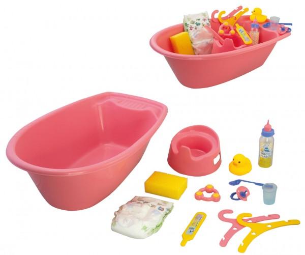 Große Badewanne für Puppen mit Zubehör (Rosa)