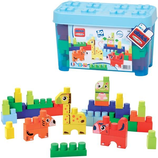 Abrick Box mit Tier Maxi-Bausteinen (Blau)