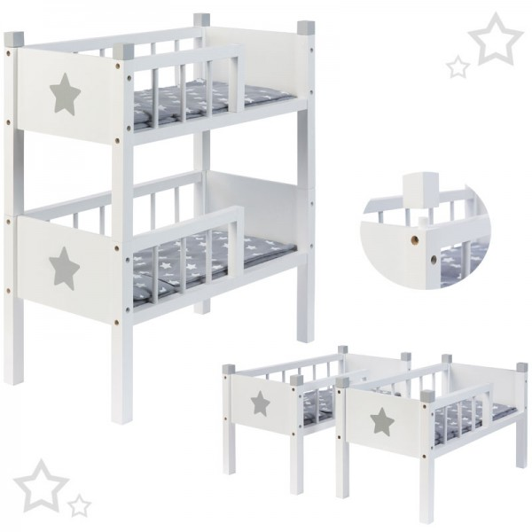 Puppenetagenbett Sternchen aus Holz mit 2 Betten Stapelbar (Weiß-Grau)