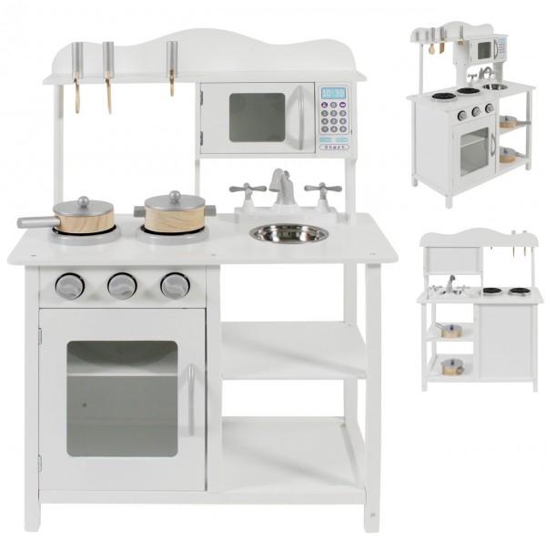 Kinderküche aus Holz mit Zubehör (Weiß)
