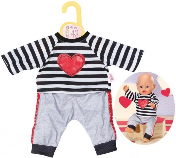 Dolly Moda Puppenkleidung Sport-Outfit Gestreift 43 cm (Grau-Schwarz)