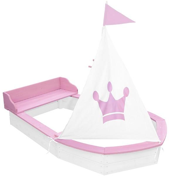 Sandkasten Boot Princess aus Holz (Weiß-Rosa)