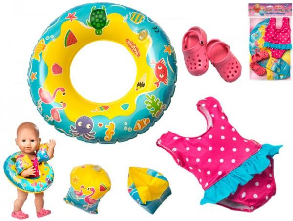 Puppenschwimm-Set mit Badeanzug und Clogs