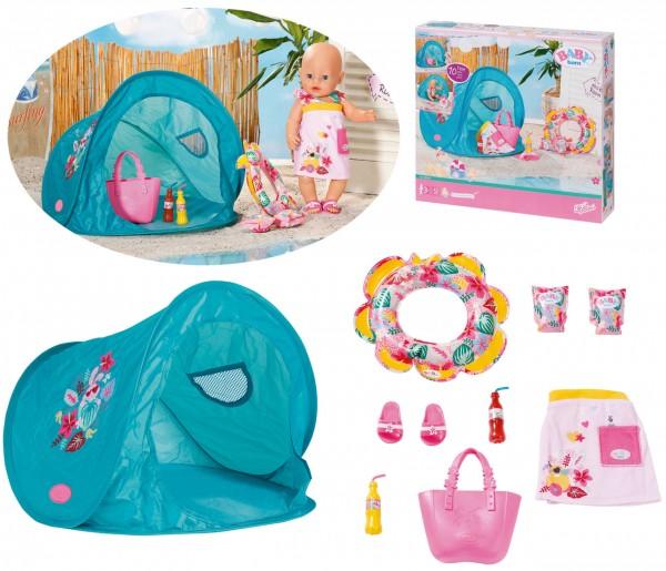 Baby Born Holiday Strand Set mit Zelt und Schwimm-Set 43 cm (Bunt)