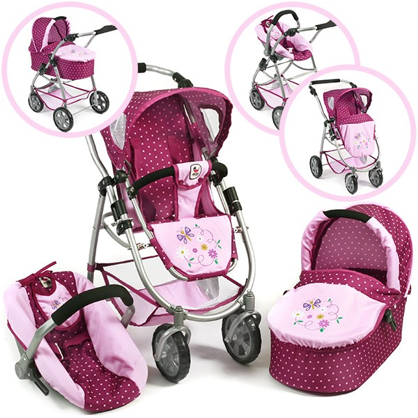Puppenwagen Emotion All In 3in1 (Dots Brombeere)