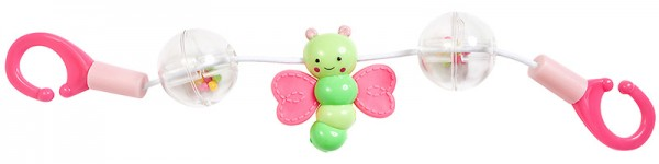 Rasselkette Schmetterling für Puppenwagen (Pink-Grün)
