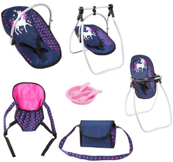 Puppenzubehör-Set Einhorn (Blau-Pink)