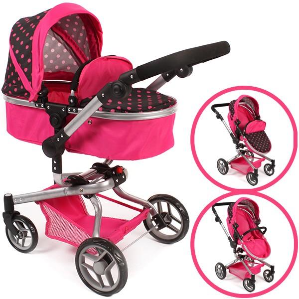 Puppenwagen Yolo Dots 2in1 (Pink-Schwarz)