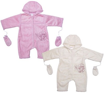 Baby-Overall mit Handschuhen Gr. 62 (Wollweiß)
