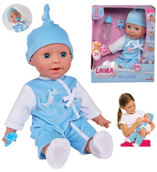 Weichkörperpuppe Laura Babysprache Bruder 38 cm (Hellblau-Weiß)