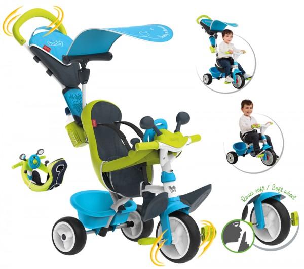 Dreirad Baby Driver Komfort II mit Lenkstange und Sonnendach (Blau)