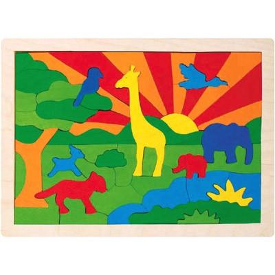 Einlegepuzzle Dschungel aus Holz mit 57 Teilen