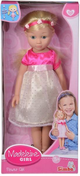 Madeleine Mädchenpuppe mit Haaren 36 cm (Gelb-Rosa-Pink)
