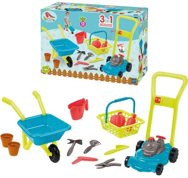 Gärtner-Set mit Schubkarre, Rasenmäher und Gartenzubehör (Petrol-Grün)