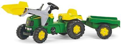 RollyKid John Deere Traktor mit Lader und Anhänger (Grün)