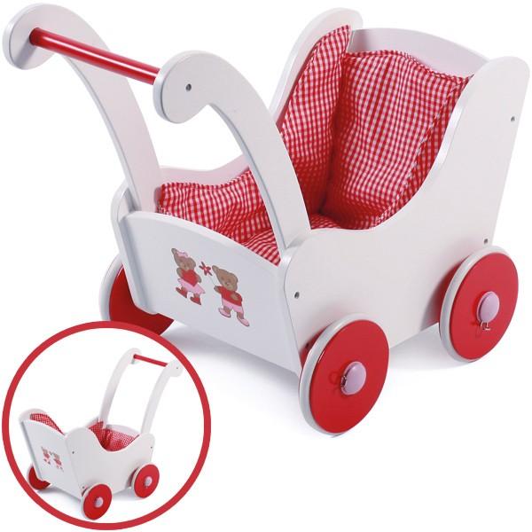Holzpuppenwagen Teddy Bear (Weiß-Rot)