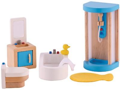 Puppenhaus Modernes Badezimmer (Natur-Blau)