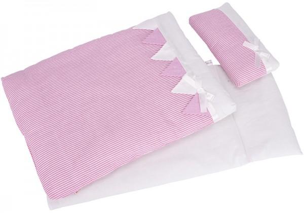 3-teiliges Puppenbettzeug Streifen (Rosa-Weiß)