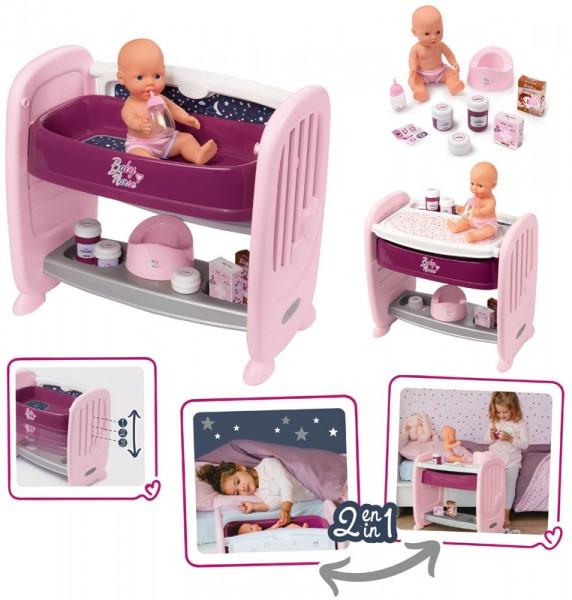 Baby Nurse Puppen-Beistellbett und Wickeltisch 2in1 mit Puppe (Brombeere)