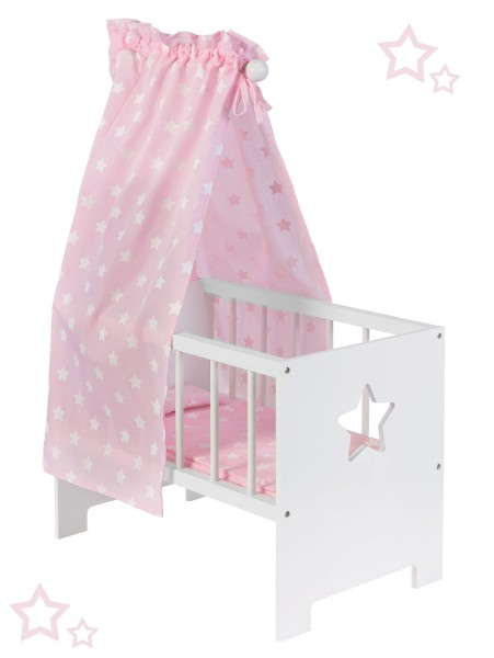 Puppenbett mit Himmel Sternchen aus Holz (Weiß-Rosa)