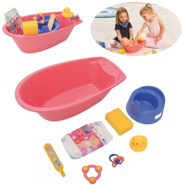Badewanne für Puppen mit Zubehör (Rosa)