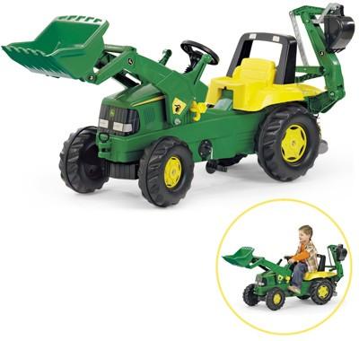 RollyJunior John Deere Traktor mit Frontlader und Heckbagger (Grün)