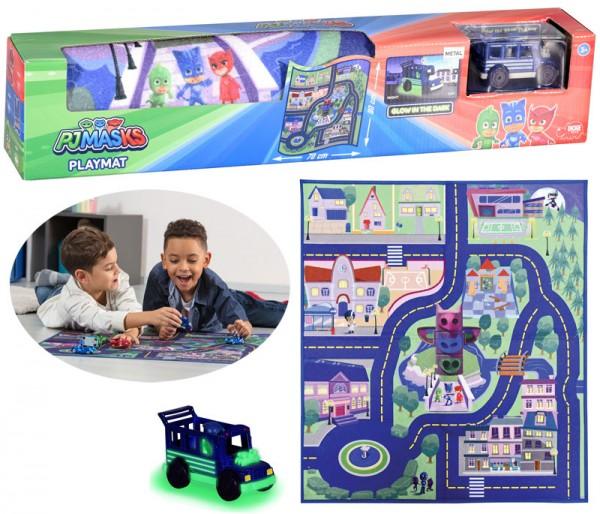 PJ Masks Playmat Spielteppich 80 x 70 cm mit Ninja Bus