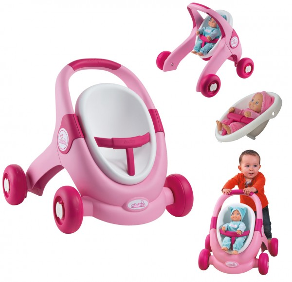 Minikiss 3in1 Lauflernwagen (Rosa-Pink)