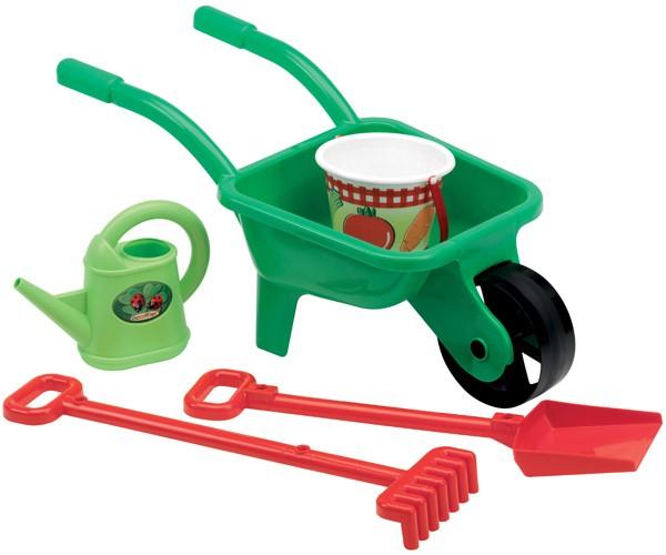 Schubkarre mit Gartenzubehör (Grün-Rot)