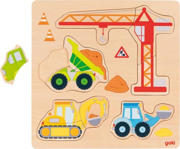 Einlegepuzzle aus Holz Baufahrzeuge