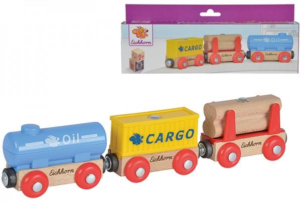 Eisenbahn-Set 3 Wagons mit Ladegut