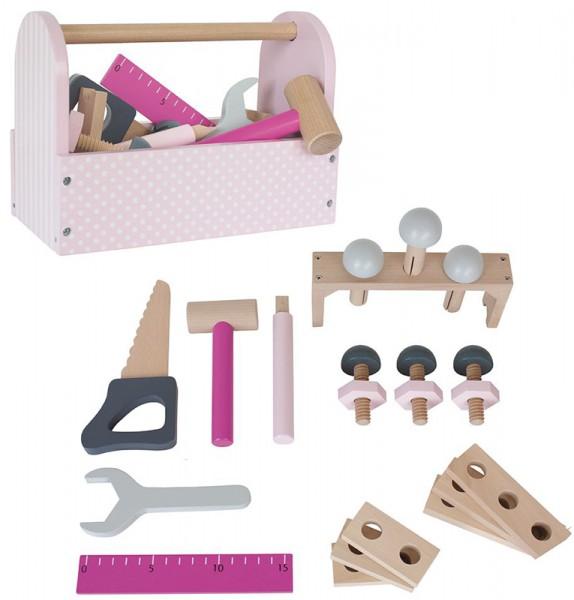 Werkzeugkiste mit Werkzeug aus Holz (Rosa)