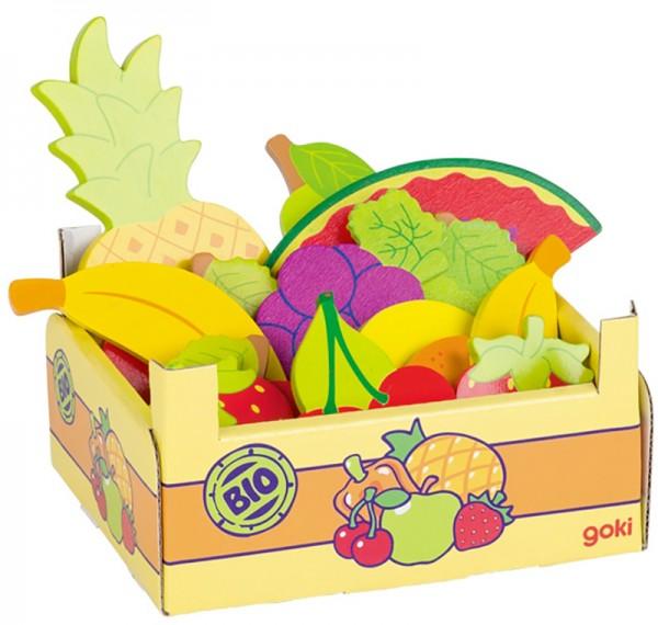 Kiste mit Obststückchen aus Holz