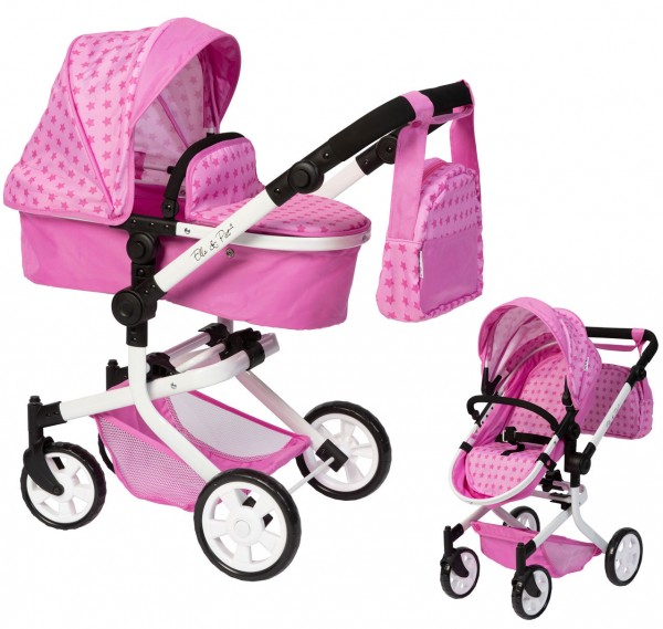 Puppenwagen MOOVE4 mit Wickeltasche 2in1 (Sternchen Pink)