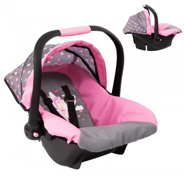 Puppen-Autositz mit Dach (Grau-Rosa)