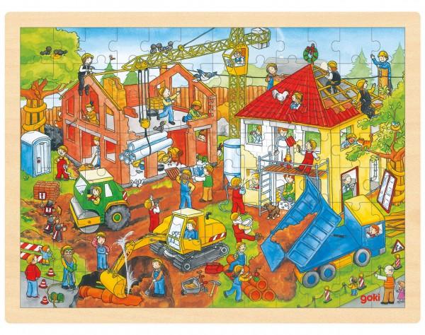 Einlegepuzzle aus Holz Baustelle (96 teilig)