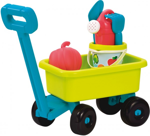 Handwagen mit Sandspielzeug (Petrol-Grün)