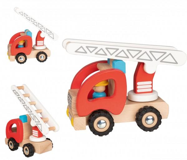 Holzfahrzeug Feuerwehr Leiterwagen 19,6 cm (Rot-Natur)