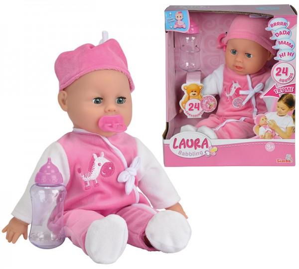 Weichkörperpuppe Laura Babysprache 38 cm (Pink-Weiß)