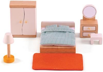 Puppenhaus Modernes Elternschlafzimmer (Natur-Weiß)