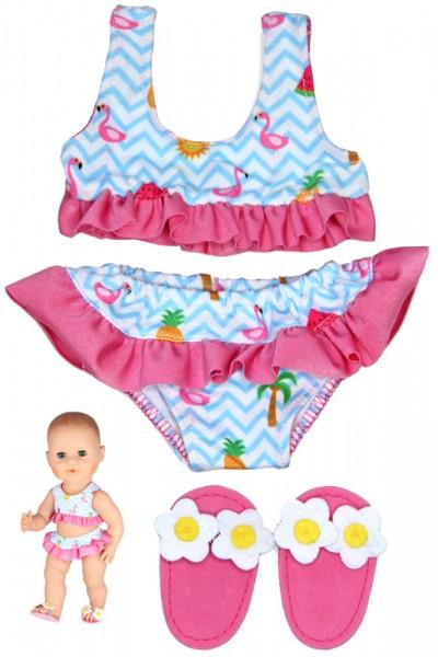 Flamingo-Bikini mit Badeschlappen für Puppe 28 - 35 cm (Pink-Hellblau)