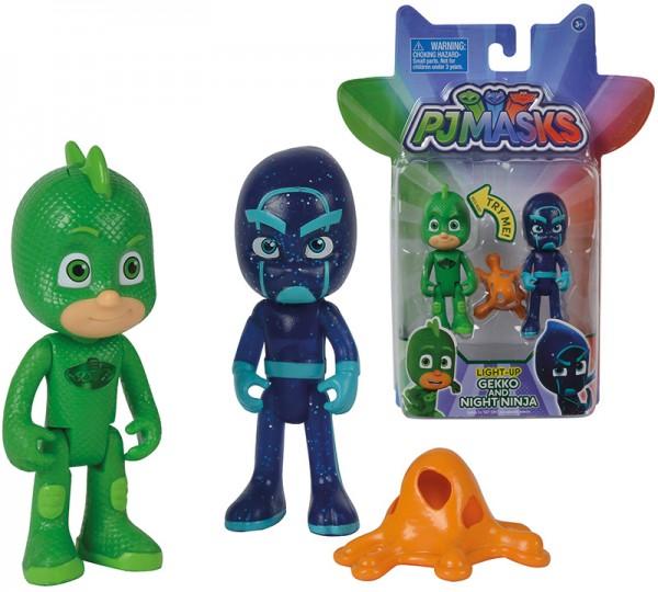 PJ Masks Figuren Set 2er Pack Gecko und Ninja mit Licht