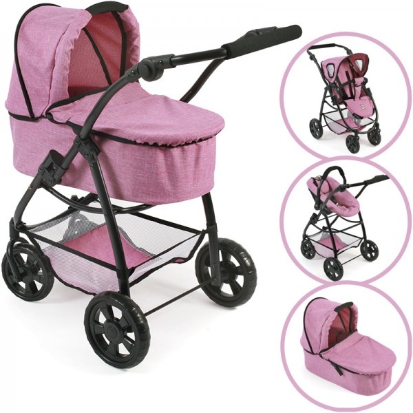 Puppenwagen Emotion All In 3in1 (Jeans Pink)