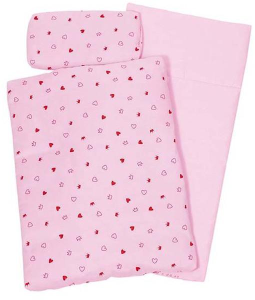 3-teiliges Puppenbettzeug Herzchen (Rosa)