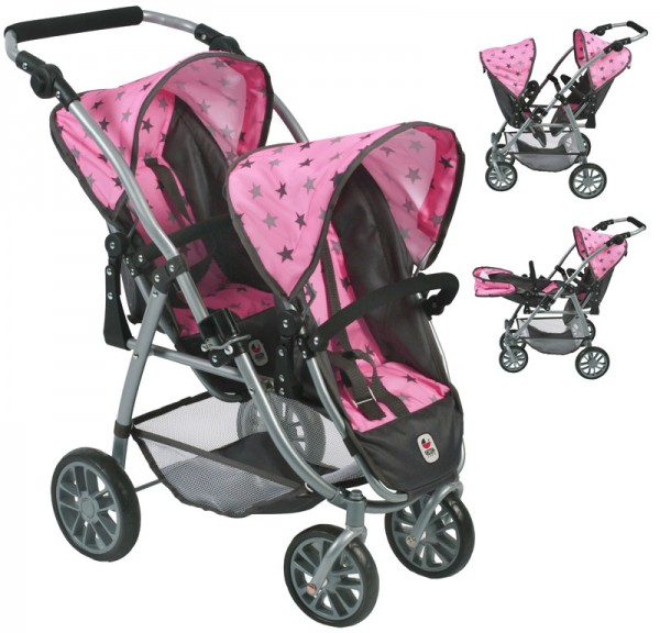 Zwillingspuppenwagen Tandem-Buggy Vario (Sternchen Grau-Rosa)