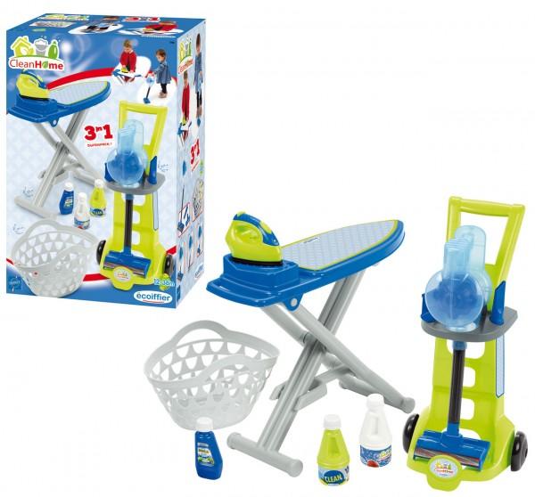Haushalts-Set 3in1 mit Putzwagen und Bügelbrett (Grün-Blau)